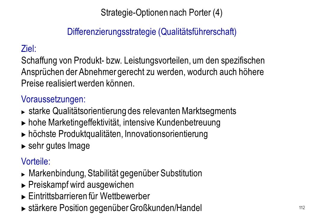 Strategie-Optionen nach Porter (4)