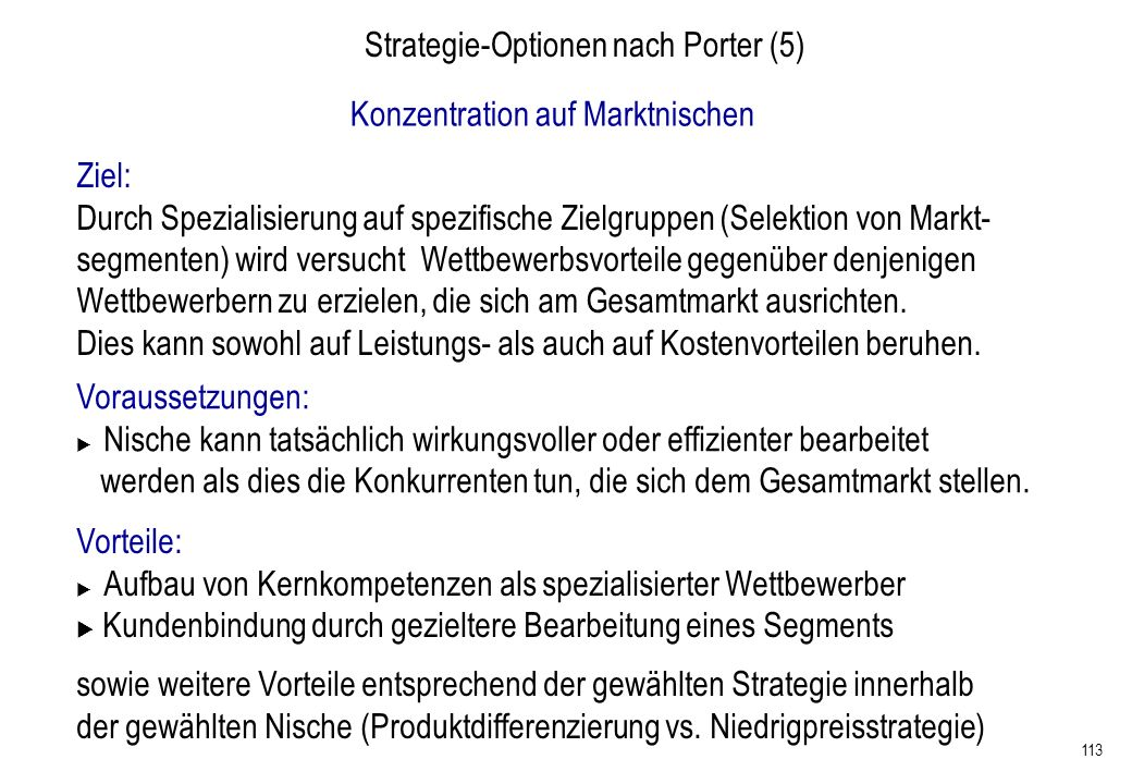 Strategie-Optionen nach Porter (5)