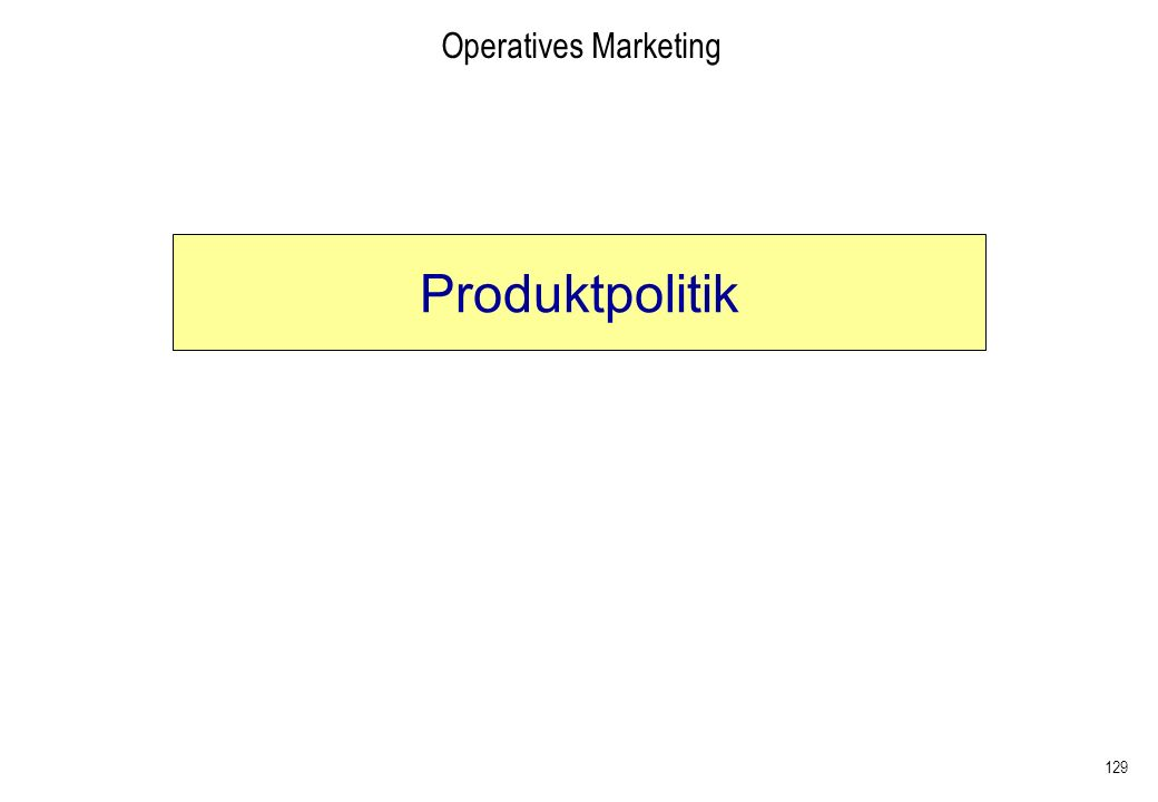 Operatives Marketing Produktpolitik