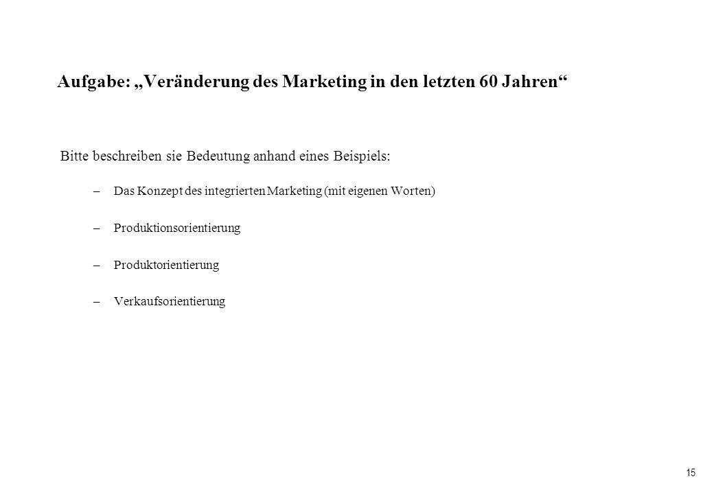 """Aufgabe: """"Veränderung des Marketing in den letzten 60 Jahren"""