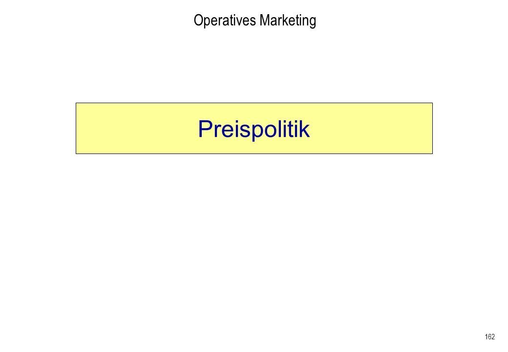 Operatives Marketing Preispolitik