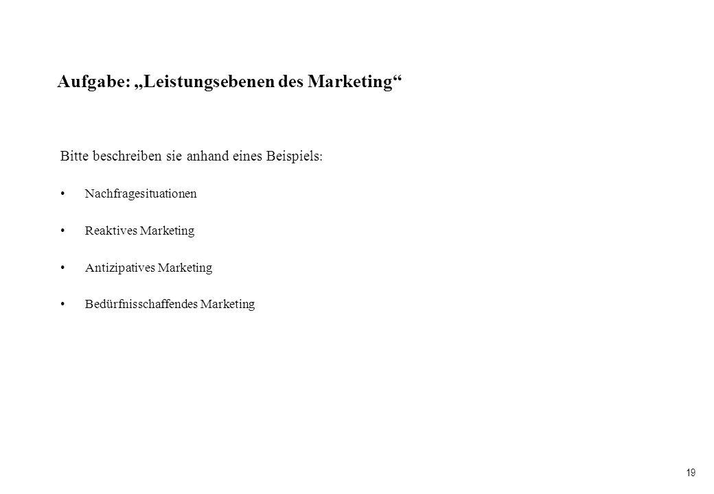 """Aufgabe: """"Leistungsebenen des Marketing"""