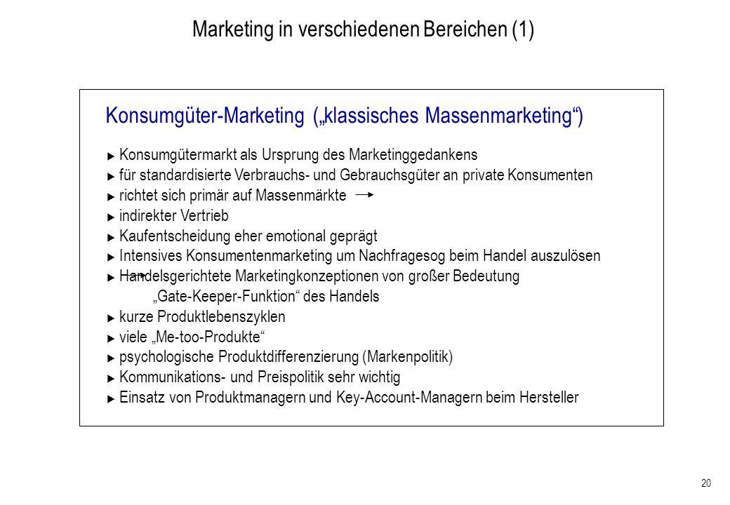 Marketing in verschiedenen Bereichen (1)