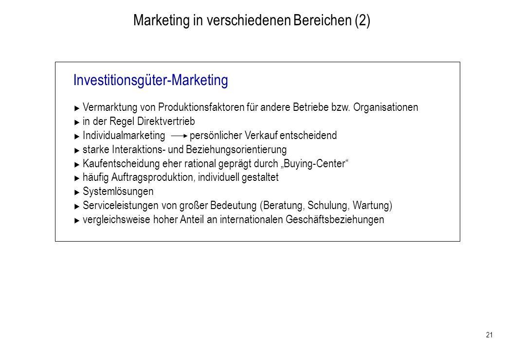Marketing in verschiedenen Bereichen (2)