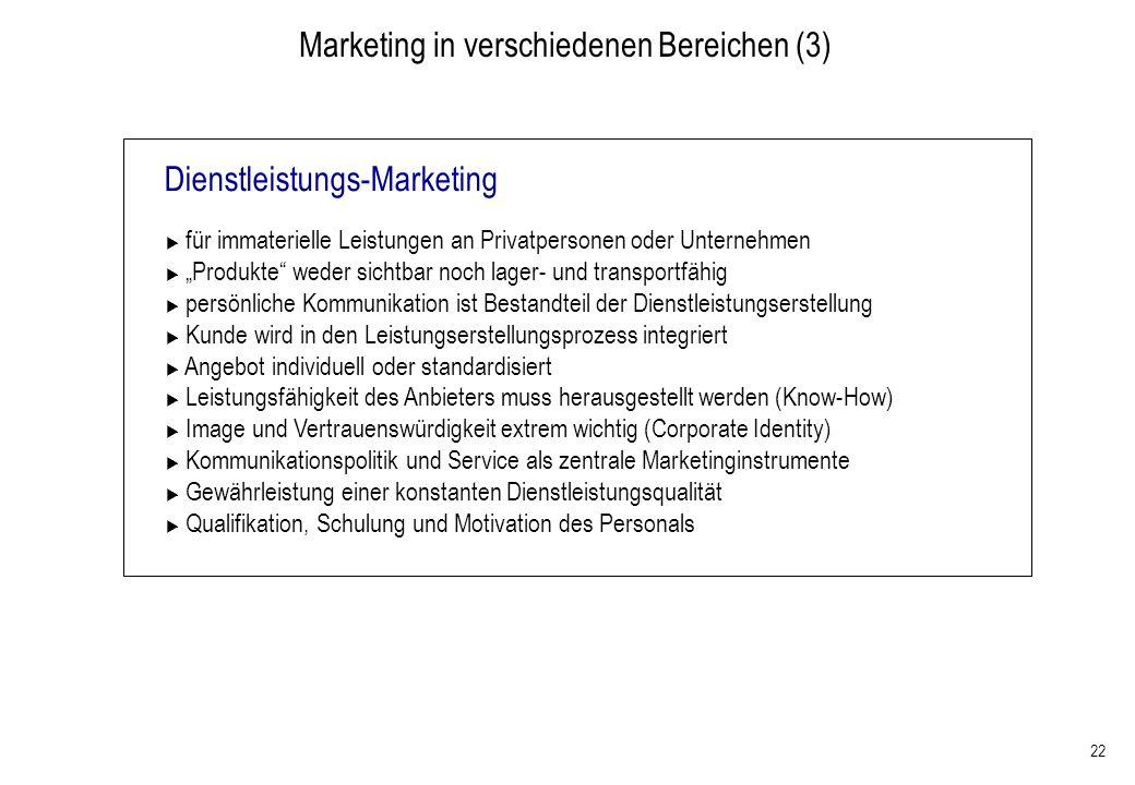 Marketing in verschiedenen Bereichen (3)