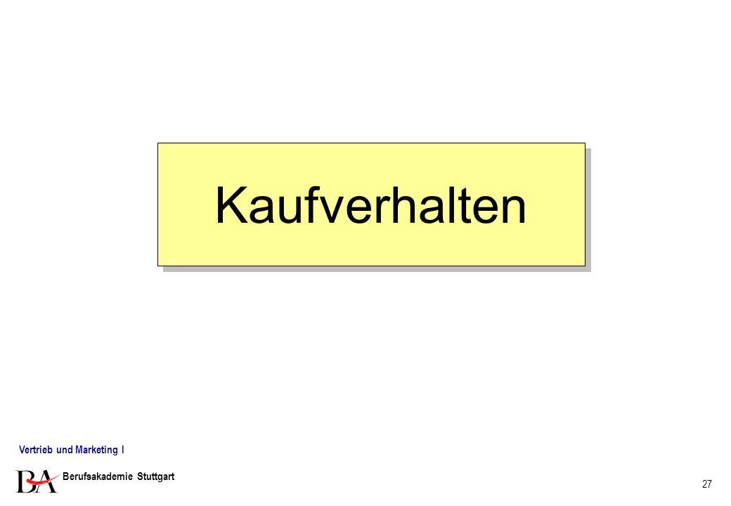 Kaufverhalten Vertrieb und Marketing I Berufsakademie Stuttgart