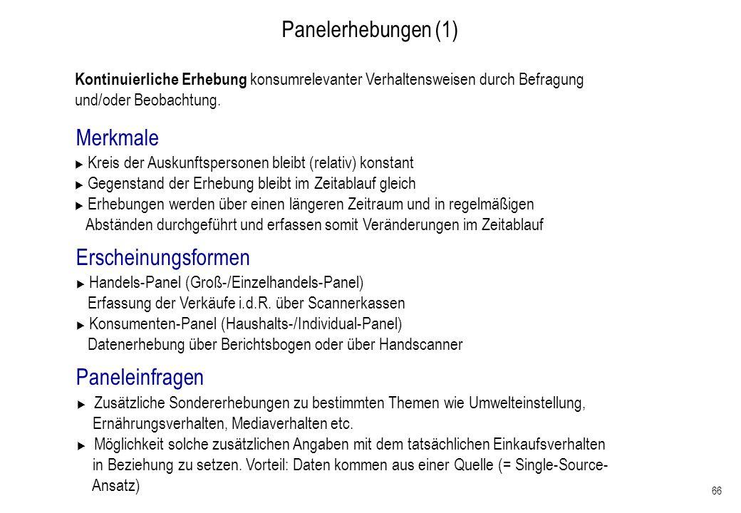 Panelerhebungen (1) Merkmale Erscheinungsformen Paneleinfragen