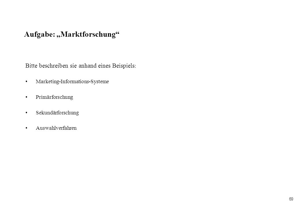 """Aufgabe: """"Marktforschung"""