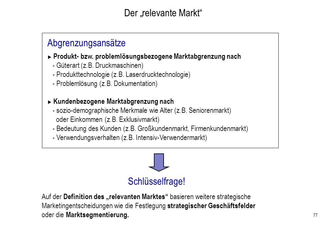 """Der """"relevante Markt Abgrenzungsansätze Schlüsselfrage!"""