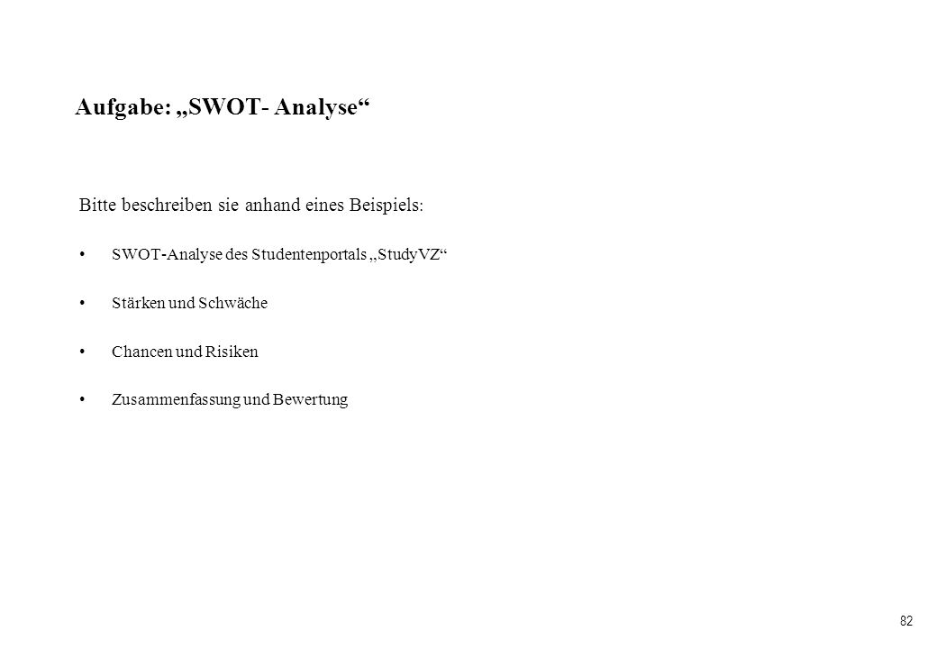 "Aufgabe: ""SWOT- Analyse"