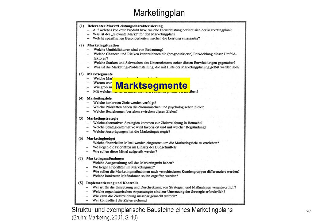 Marketingplan Marktsegmente