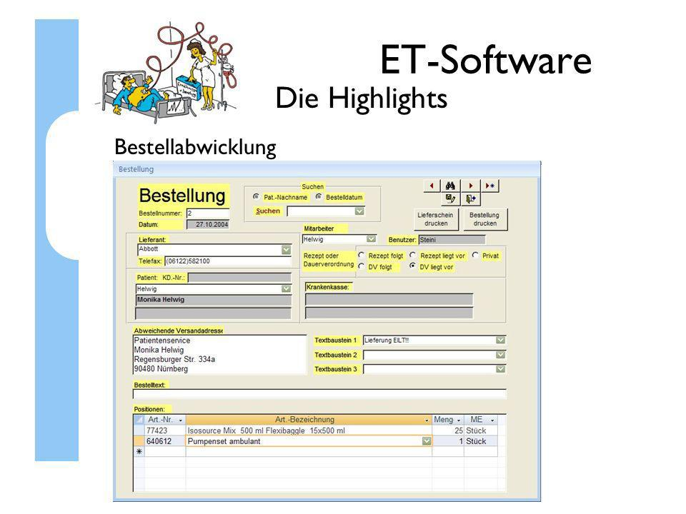 ET-Software Die Highlights Bestellabwicklung