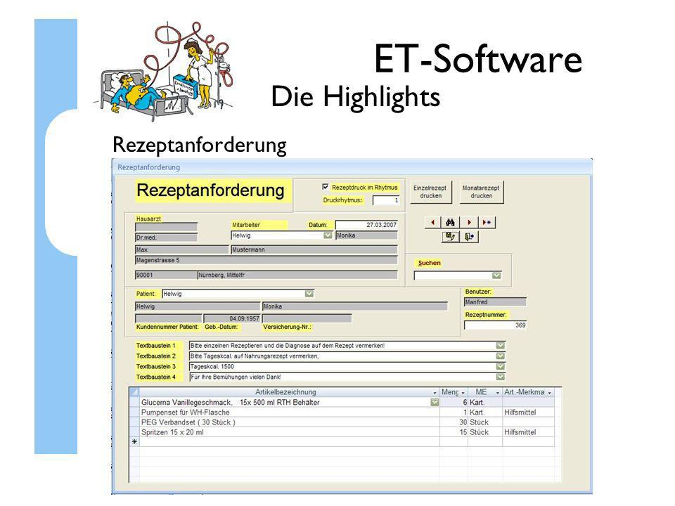 ET-Software Die Highlights Rezeptanforderung