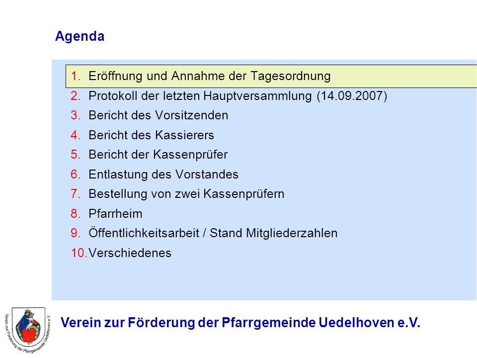 Agenda Eröffnung und Annahme der Tagesordnung