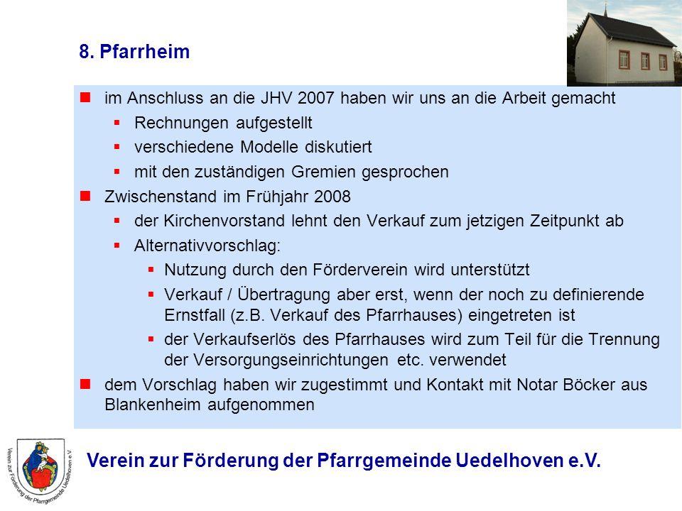 8. Pfarrheim im Anschluss an die JHV 2007 haben wir uns an die Arbeit gemacht. Rechnungen aufgestellt.
