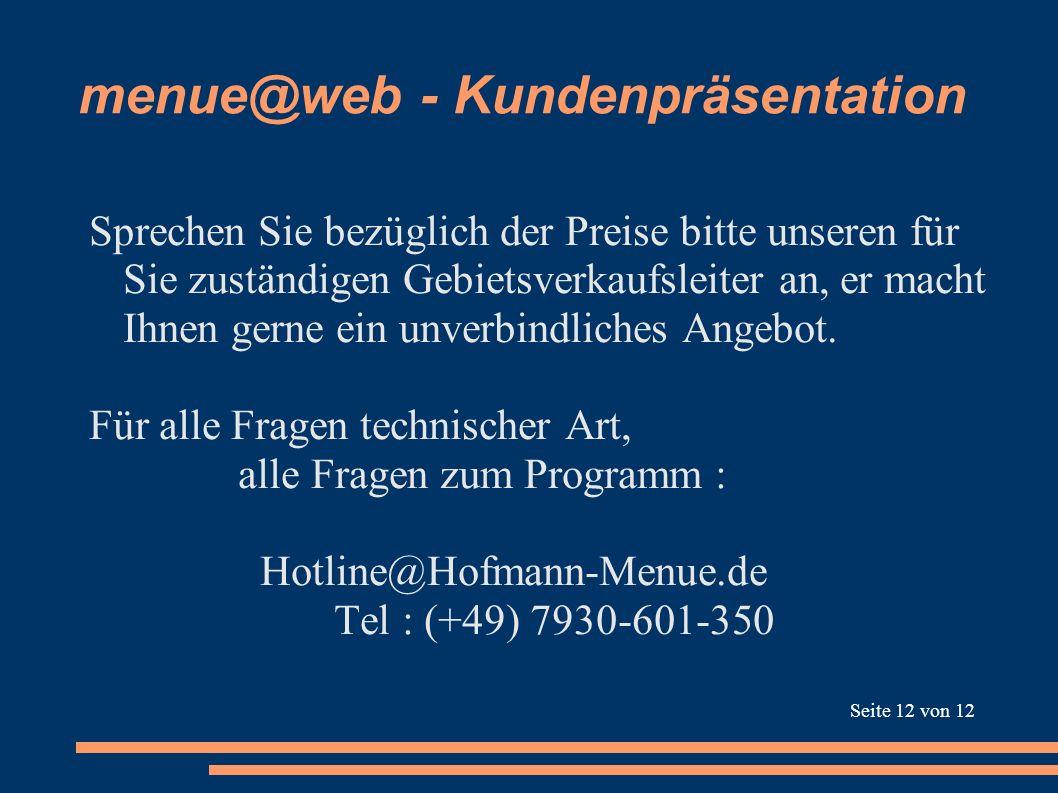 menue@web - Kundenpräsentation