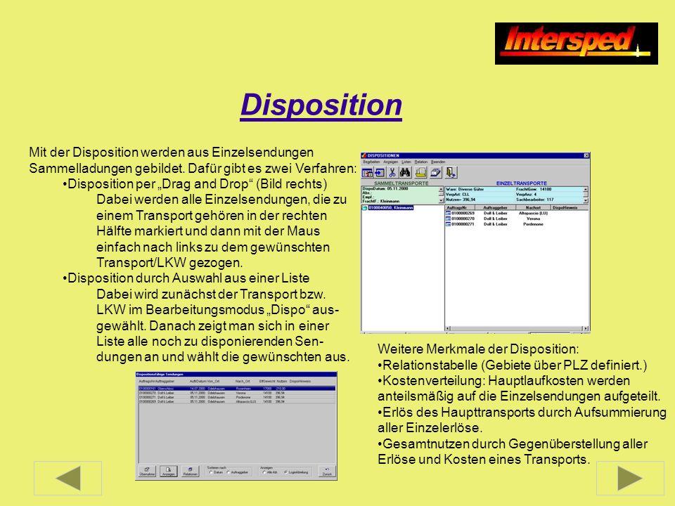 Disposition Mit der Disposition werden aus Einzelsendungen Sammelladungen gebildet. Dafür gibt es zwei Verfahren: