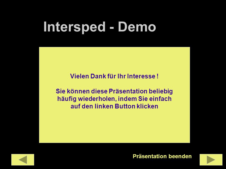 Intersped - Demo Vielen Dank für Ihr Interesse !