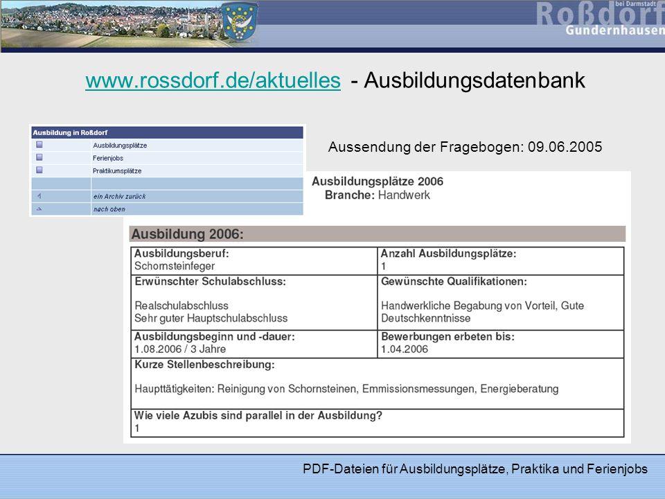 www.rossdorf.de/aktuelles - Ausbildungsdatenbank