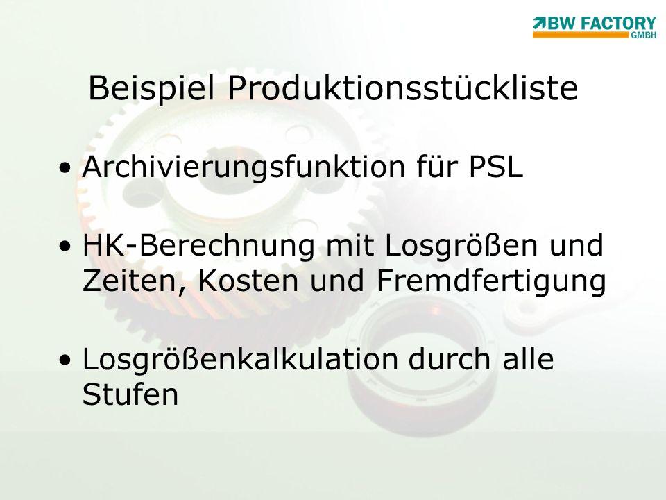 Beispiel Produktionsstückliste