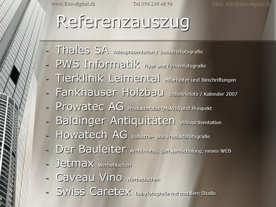 Referenzauszug Thales SA Videopräsentation / Industriefotografie