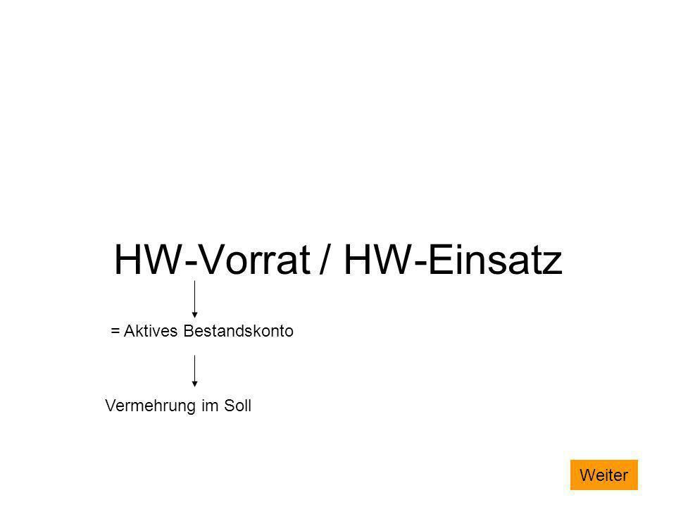 HW-Vorrat / HW-Einsatz