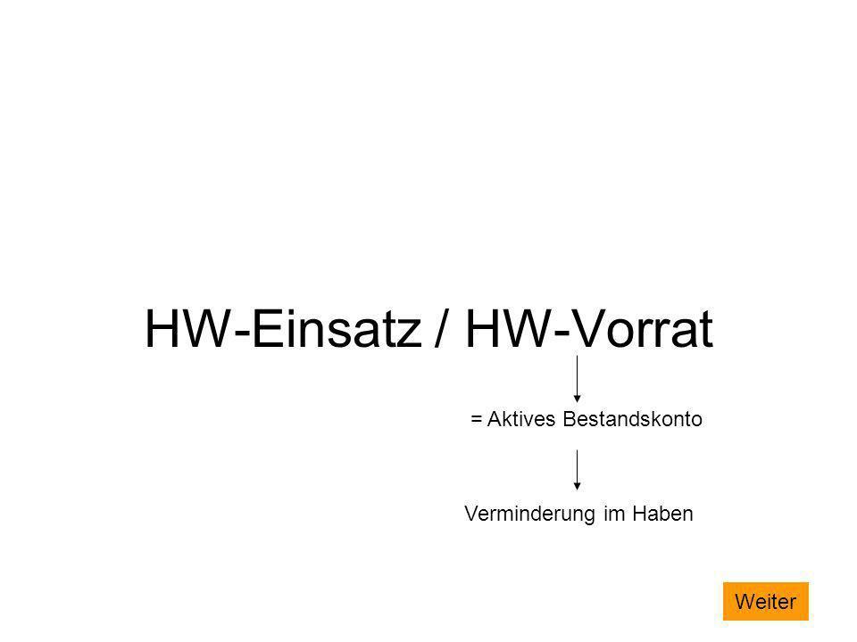 HW-Einsatz / HW-Vorrat