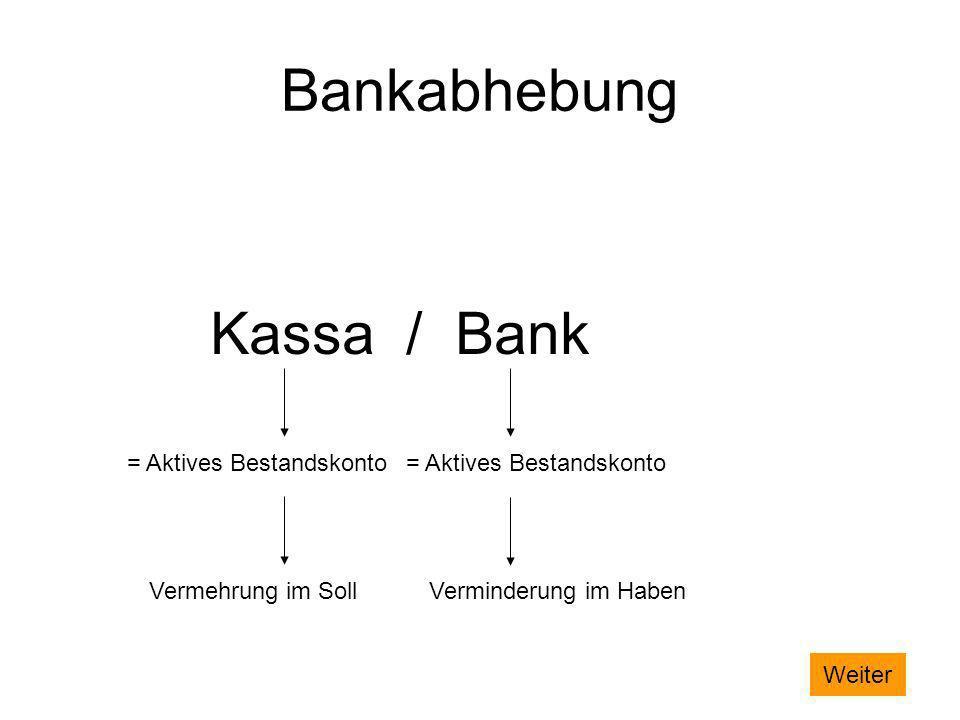 Bankabhebung Kassa / Bank = Aktives Bestandskonto