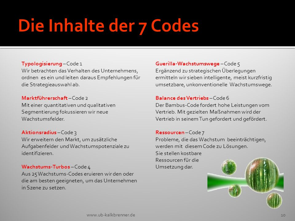 Die Inhalte der 7 Codes