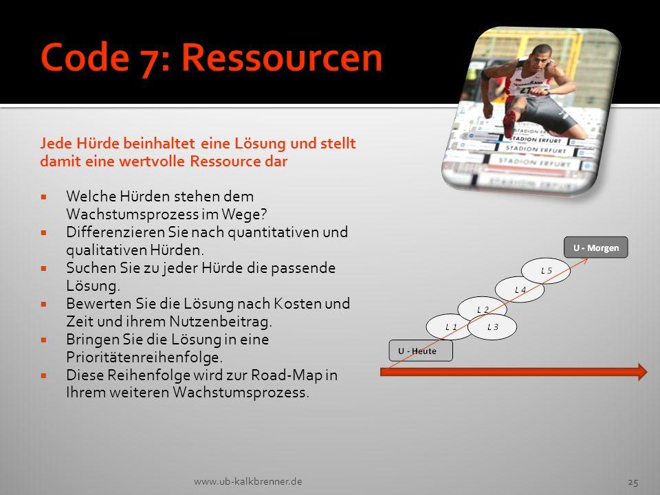 Code 7: Ressourcen Jede Hürde beinhaltet eine Lösung und stellt