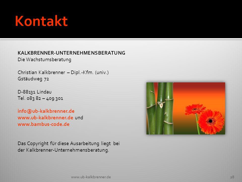 Kontakt KALKBRENNER-UNTERNEHMENSBERATUNG Die Wachstumsberatung