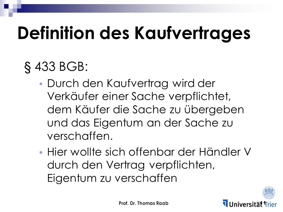 Definition des Kaufvertrages