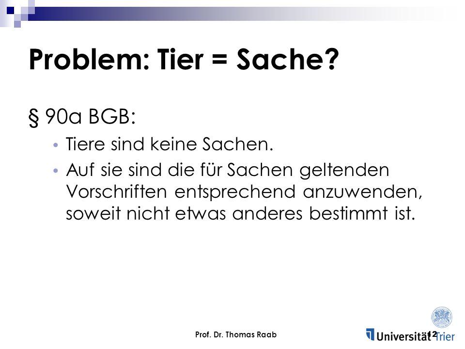 Problem: Tier = Sache § 90a BGB: Tiere sind keine Sachen.