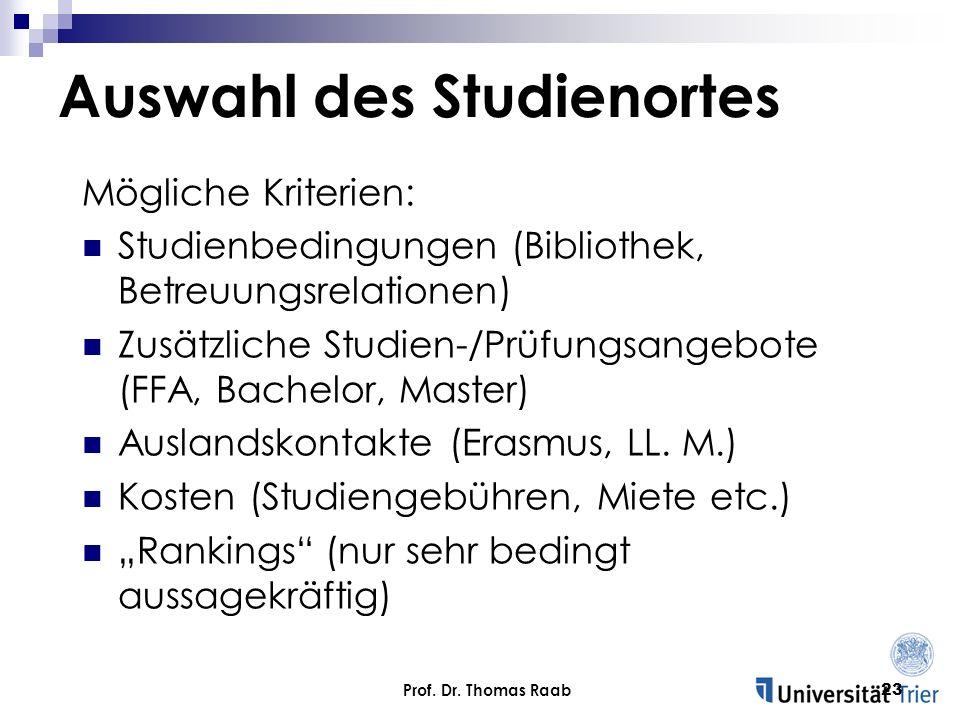 Auswahl des Studienortes