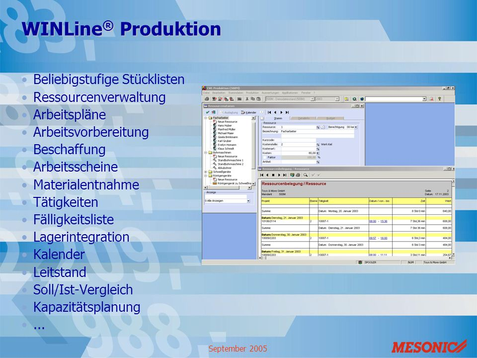 WINLine® Produktion Beliebigstufige Stücklisten Ressourcenverwaltung