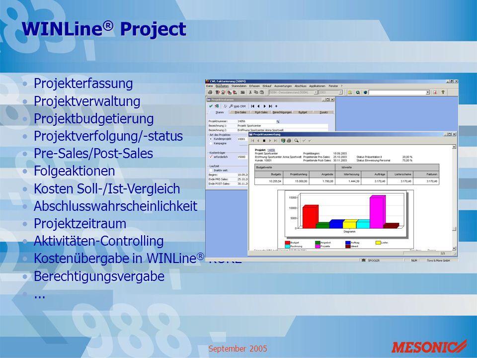 WINLine® Project Projekterfassung Projektverwaltung