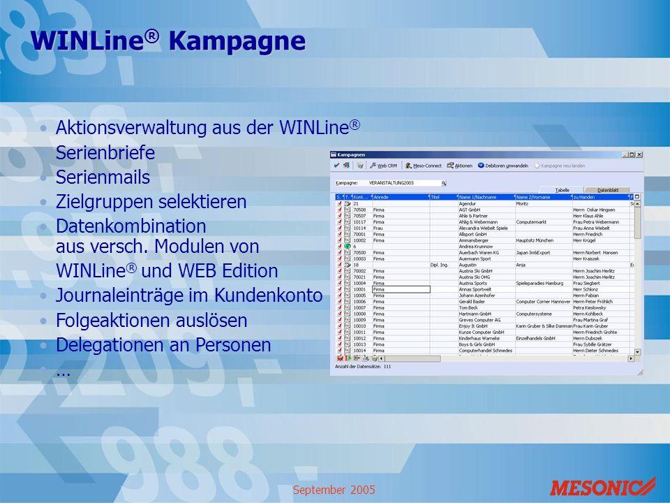 WINLine® Kampagne Aktionsverwaltung aus der WINLine® Serienbriefe