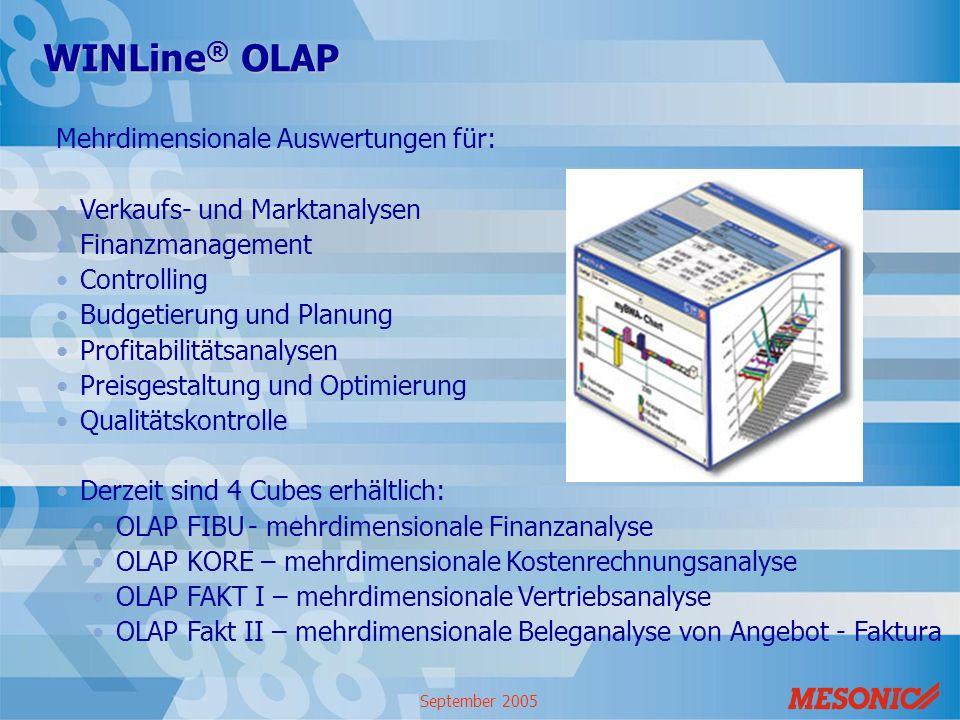 WINLine® OLAP Mehrdimensionale Auswertungen für: