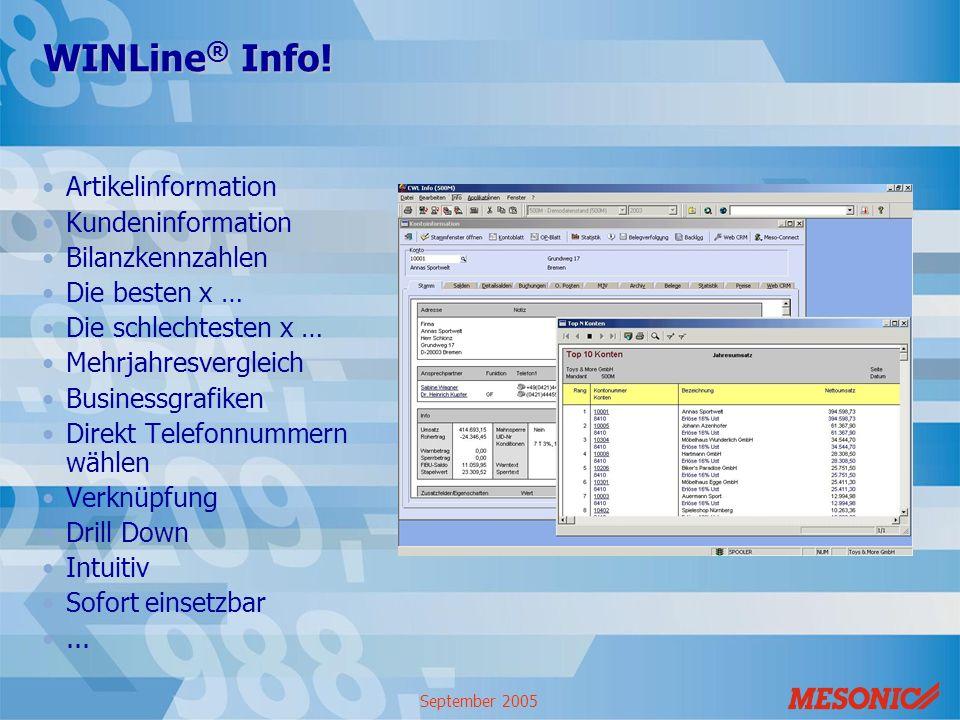 WINLine® Info! Artikelinformation Kundeninformation Bilanzkennzahlen