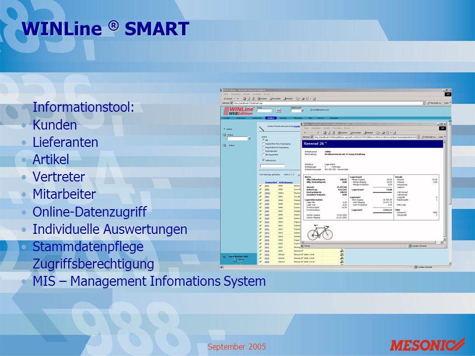 WINLine ® SMART Informationstool: Kunden Lieferanten Artikel Vertreter