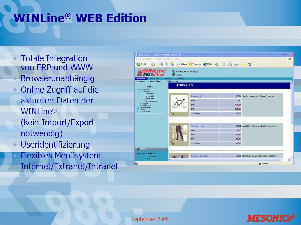 WINLine® WEB Edition Totale Integration von ERP und WWW