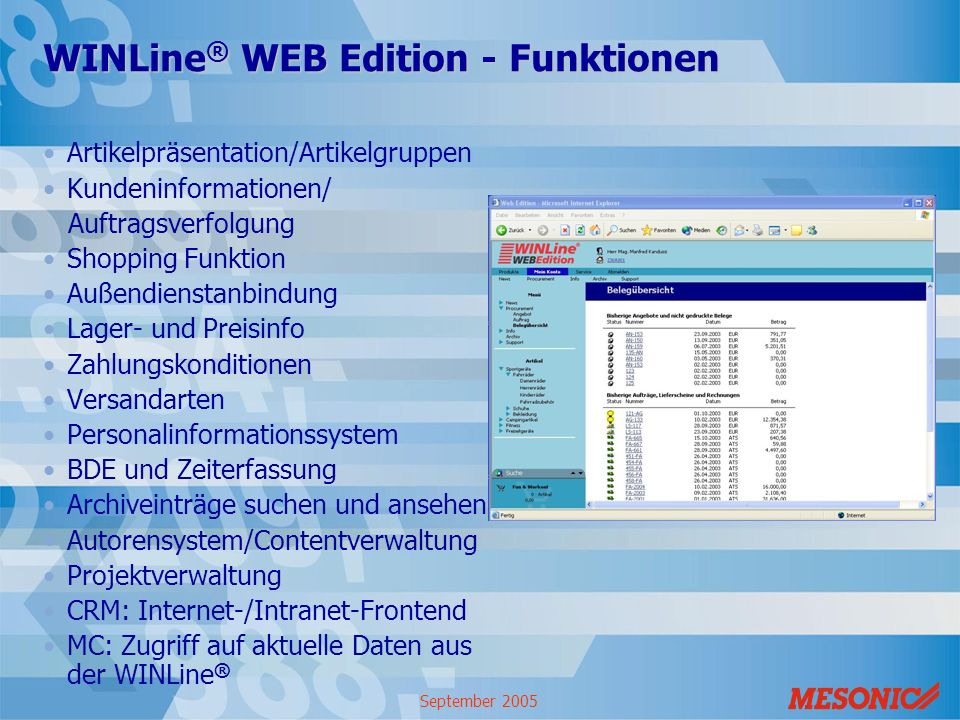 WINLine® WEB Edition - Funktionen
