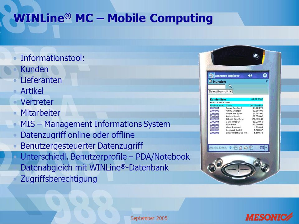 WINLine® MC – Mobile Computing