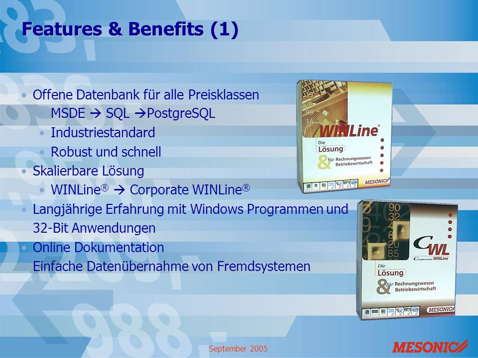 Features & Benefits (1) Offene Datenbank für alle Preisklassen
