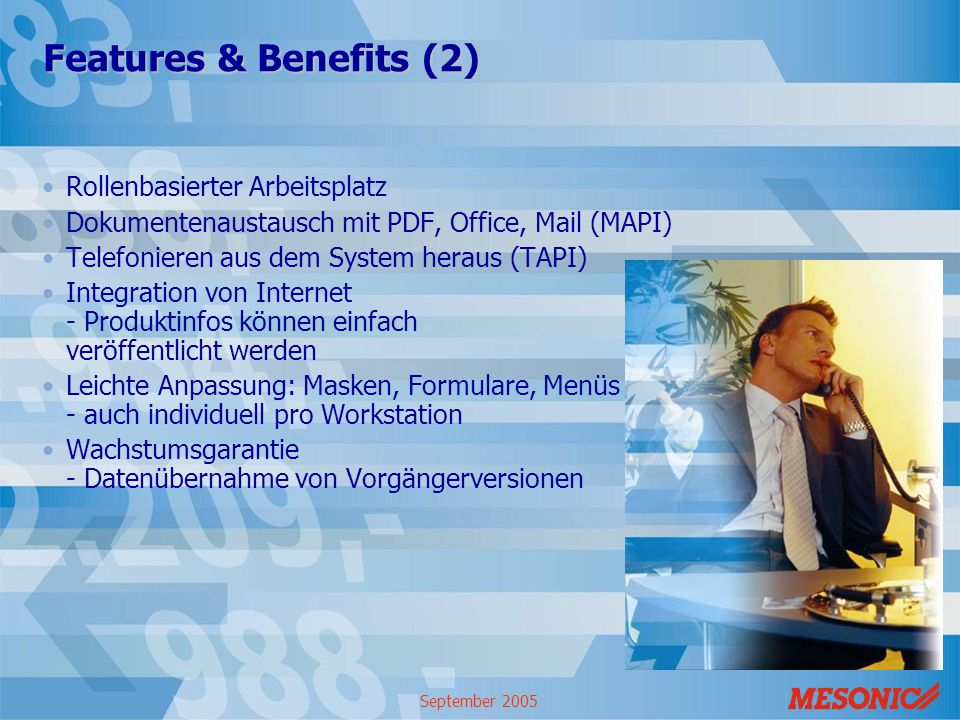 Features & Benefits (2) Rollenbasierter Arbeitsplatz