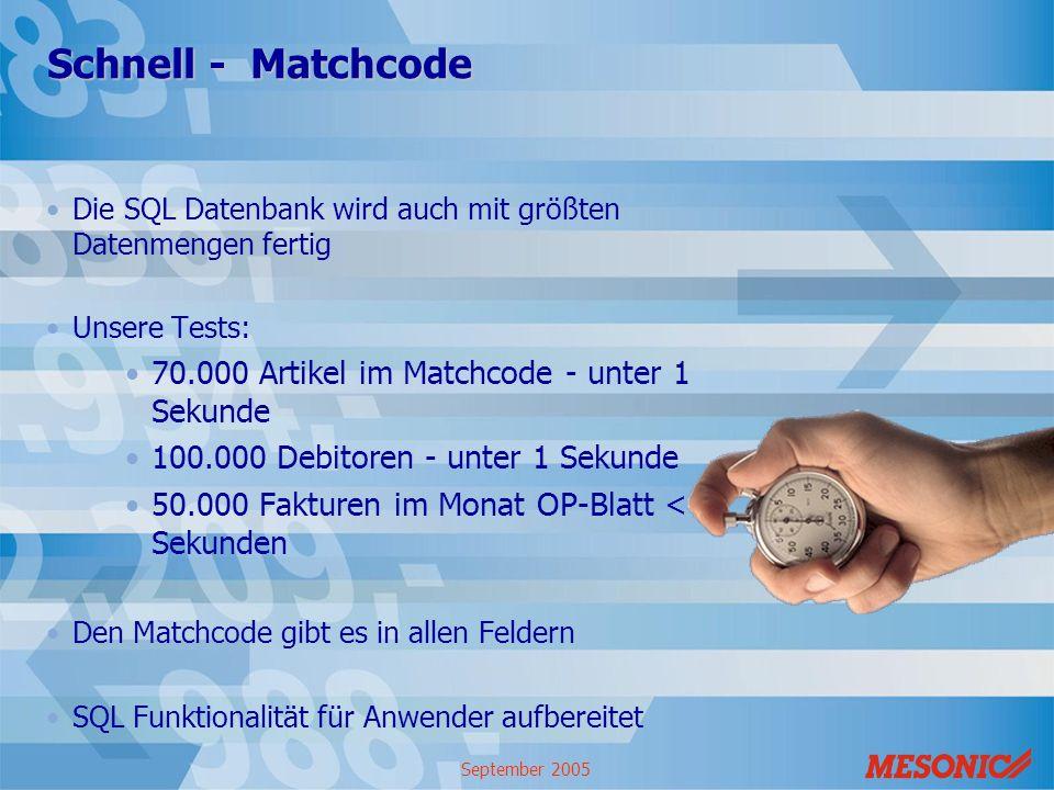 Schnell - Matchcode 70.000 Artikel im Matchcode - unter 1 Sekunde