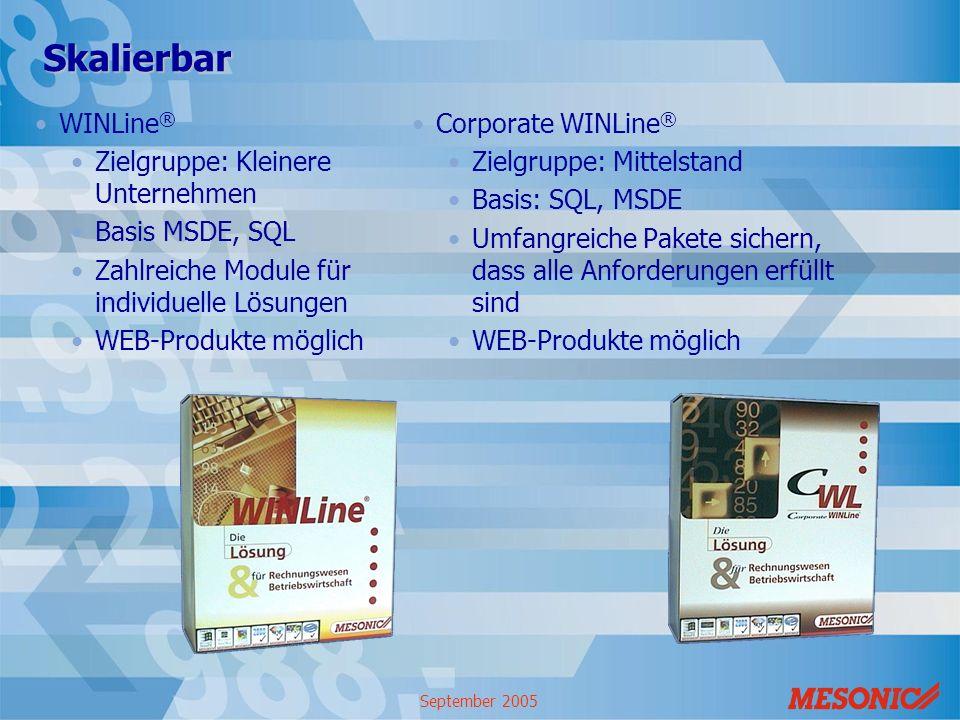 Skalierbar WINLine® Zielgruppe: Kleinere Unternehmen Basis MSDE, SQL