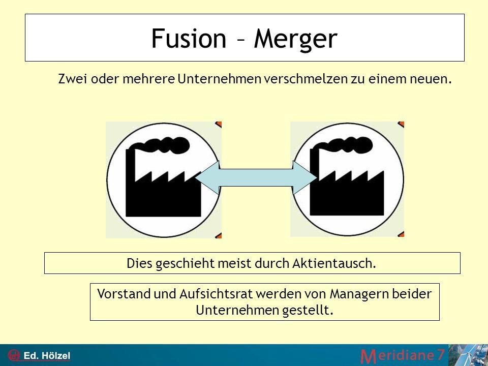 Fusion – Merger Zwei oder mehrere Unternehmen verschmelzen zu einem neuen. Dies geschieht meist durch Aktientausch.