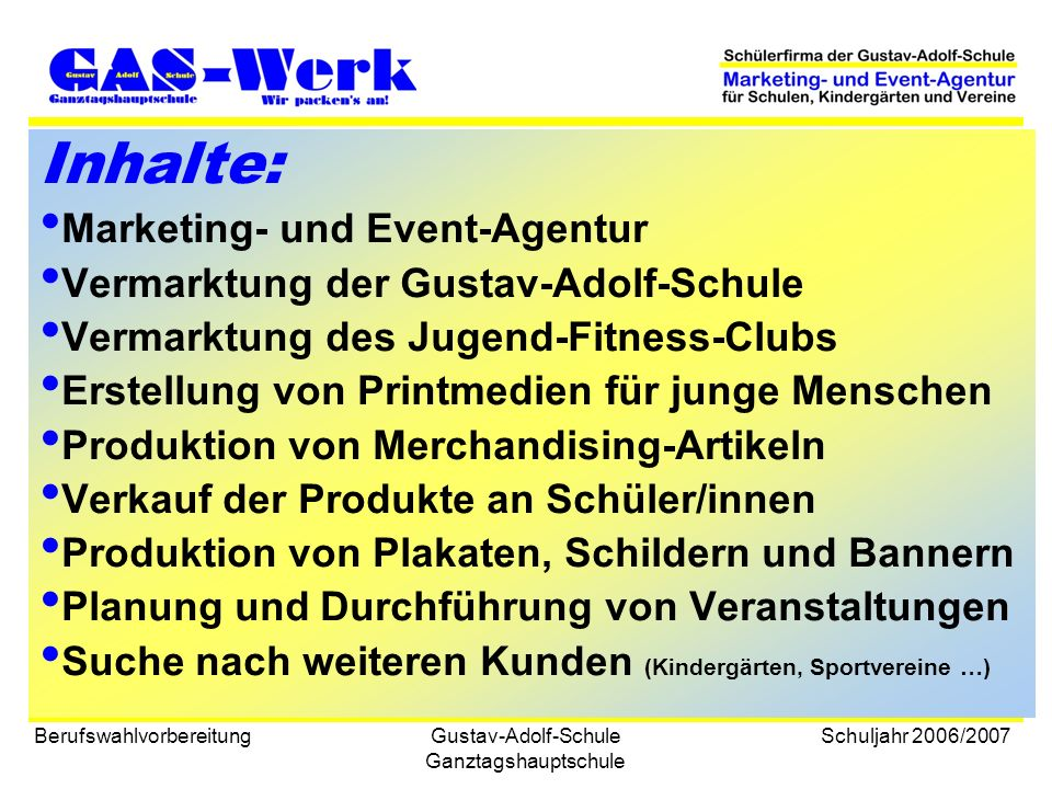 Inhalte: Marketing- und Event-Agentur