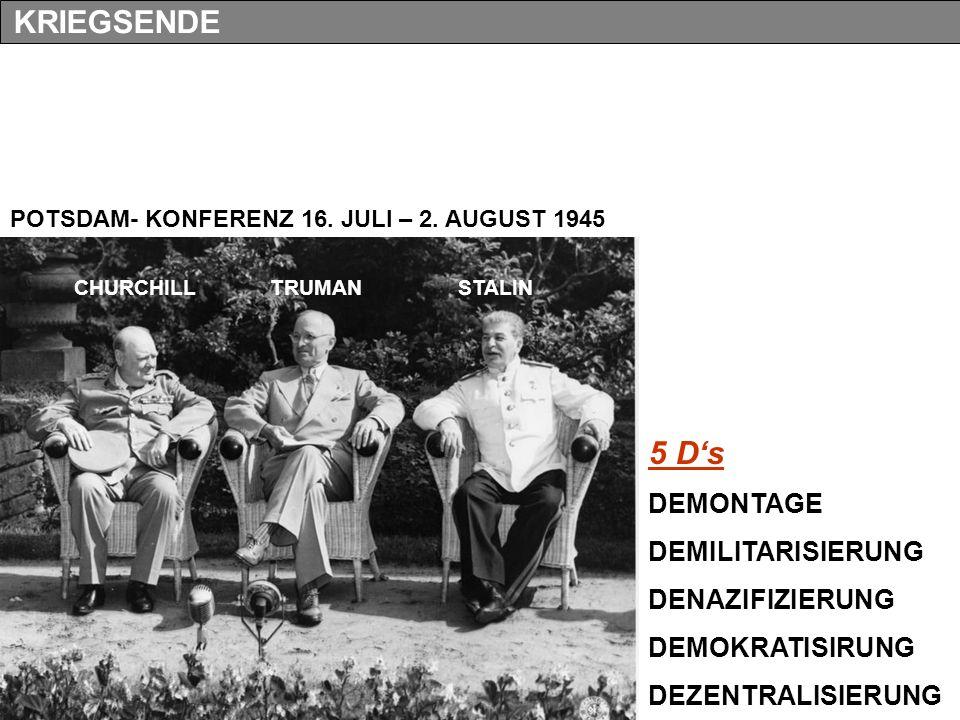 KRIEGSENDE 5 D's DEMONTAGE DEMILITARISIERUNG DENAZIFIZIERUNG